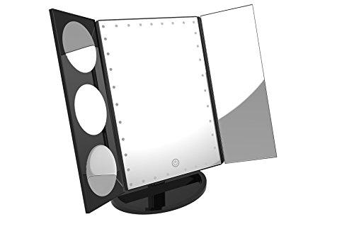 Easehold Espejo para Maquillaje Triple Plegable Grande Con 35 Bombillas LED Luz Amplificador 3X/5X/10X 360° Rotable con Organizador Cosmético, Regalos Originales para Mujer (Negro)