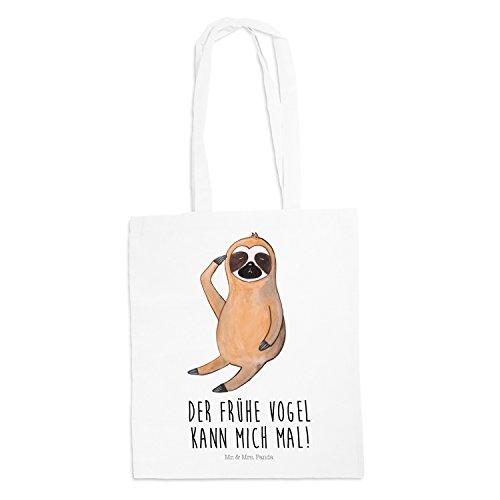 Mr. & Mrs. Panda Bag, Jutetasche, Tragetasche Faultier Vogel Zeigen mit Spruch – Farbe Weiß