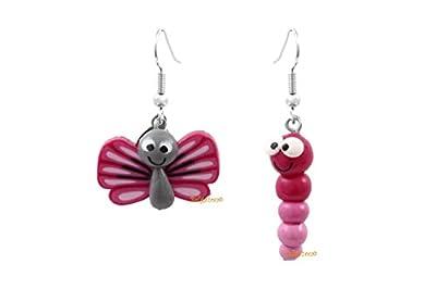 Lady-Charms - Fait main - Boucles d'oreilles papillon & la chenille