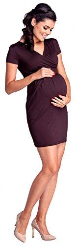 Zeta Ville - maternité robe de grossesse à taille froncée M-2XL - femme - 806c Chocolat