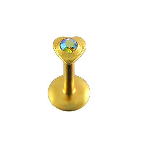 Regenbogen Crystal Stein Herz Push-Fit Top Gold eloxiert 16 Gauge - 8MM Länge 316L chirurgischer Stahl Madonna Lippe Labret Tragus Bar Piercing