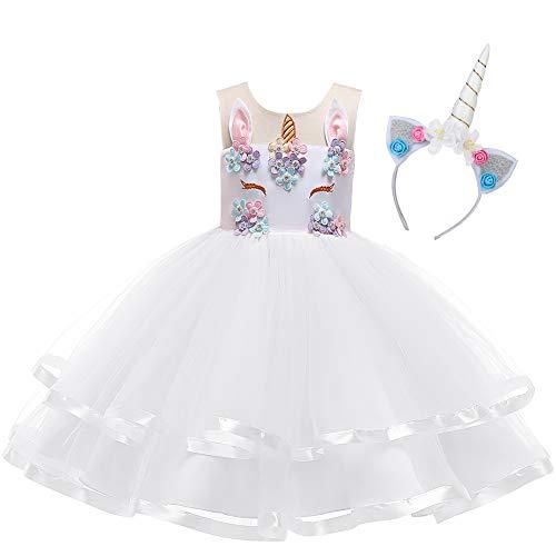 OBEEII Kinder Festliche Kleider Mädchen Einhorn Kostüm Karneval Weihnachten Allerheilige Geburtstag Geschenk Baby Kinder Prinzessin Kleid 11-12 Jahre