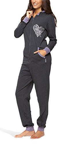 Lange Leichte 100% Baumwolle (maluuna - Damen Jumpsuit, Onesie, Overall, Einteiler mit Bündchen an Arm- und Beinabschluss aus 100% Baumwolle, Farbe:anthrazit, Größe:40/42)