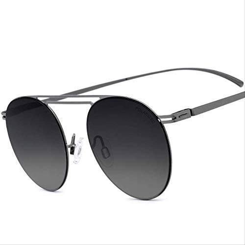 LKVNHP Hohe Qualität Nylon Polarisierte Sonnenbrille Männer Berühmte Ultraleichte Schraubenlose Brillen Retro Runde Spiegel Sonnenbrille Für FrauenGradienten Grau