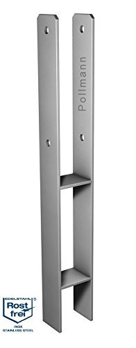 Pollmann Baubeschläge 4939306 H-Pfostenträger 91 mm, Länge 600 mm V2A