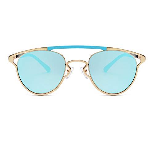 YHgiway Mode-Aviator Sonnenbrille für Männer Frauen konkave Modellierung Frame/Mirrored Lens Cat Eye Brillen UV400,Gold/Blue