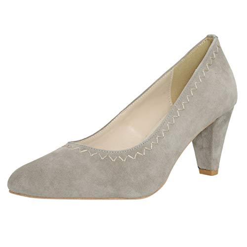 HIRSCHKOGEL Damen Dirndl-Schuhe Pumps Malchiner See in Grau Trachten-Schuhe, Schuhgröße:39, Farbe:Grau