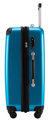 HAUPTSTADTKOFFER® 2er Hartschalen Kofferset · 2x Koffer 74 Liter (63 x 42 x 28 cm) · Hochglanz · Zahlenschloss · SCHWARZ Cyan Blau