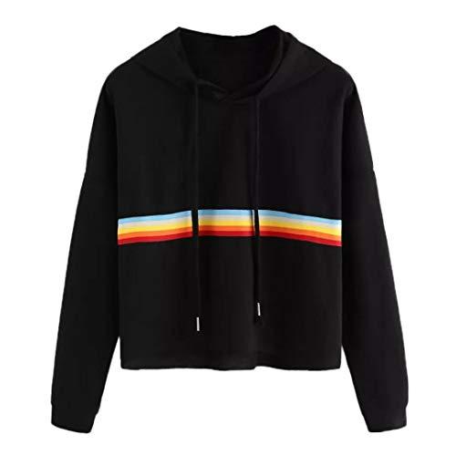 TWIFER Damen Hoodie Langarm Rainbow Patchwork Pullover O Hals Sweatshirt Lässige Kapuzenpullover