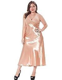 4aee1640c HITSAN Women s Emulation Silk Lace Halter Pajamas Retro Classic Royal  Ladies Nighty Nightgown Bedgown Vestidos Champagne