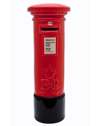 Grande rojo y negro auténtica Royal Mail de cerámica Pillarbox buzón de correos con forma de caja de dinero Banco Hucha Ornamental 25cm de alto