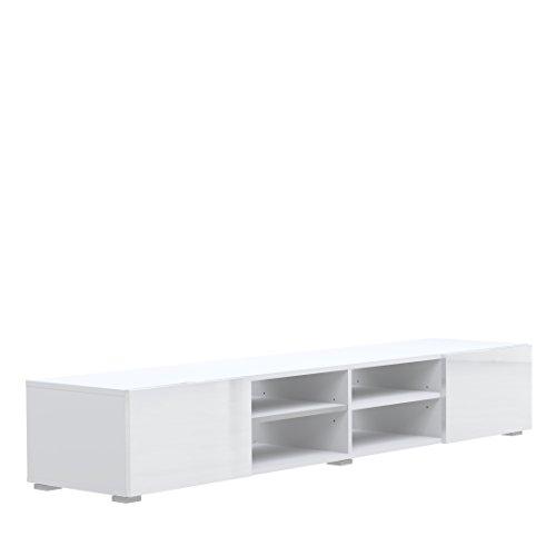 Symbiosis 3058A2119L02 Meuble TV avec 4 Niches/2 Tiroirs Bois Blanc/Laque 185 x 31 x 42 cm