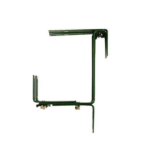 Xclou Support pour jardinière couleur verte - Support de bac à fleurs robuste et réglable en largeur- Accroche jardinière en métal pour le balcon