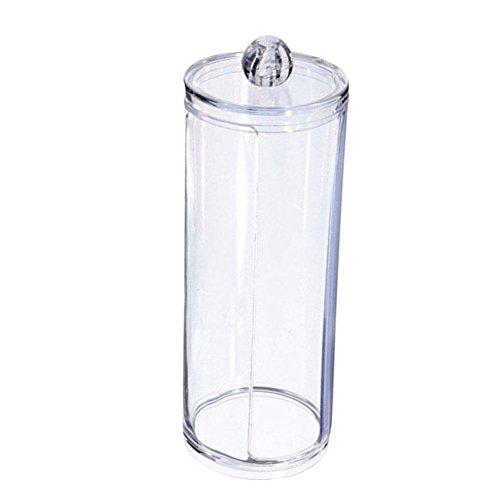 Hosaire Boite à Coton Tige en Acrylique Fonctionnel Rond Forme Boîte de Rangement pour Cotons de Maquillage Transparent Ranger Porte Coton
