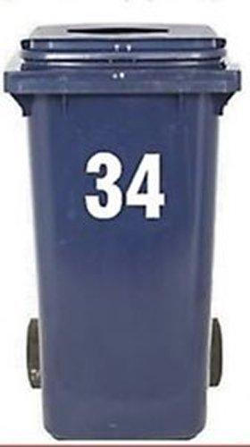 2 Große Nummern Für Mülltonnen Selbstklebend Aufkleber Weiße Nummer -2 (Aufkleber, Großer Zahlen)