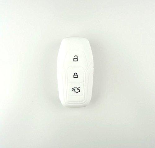 Brightparts® Silikon Schlüsseletui Hülle Etui Schlüssel Cover für Ford mit Power-Startfunktion oder Key Free-System (Weiß)
