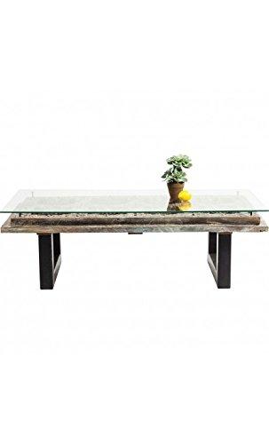 Kare design - Table basse moderne bois sculpté et verre Khalif