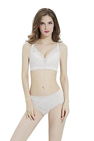 Bonjanvye Women's Everyday Basic Comfort Cotton Wirefree Bra with Lace Women's Bra Set White