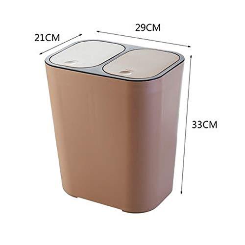 WOAINI Doppelabteil-Schritt-Abfalleimer-Recycler, Rechteck-Plastikdruckknopf, klassifizierte Mülleimer mit sicherem Dia-Verschluss für Küche / 15 Liter / 4 Gallon (Farbe : Light Coffee) - Dual Mülltonne