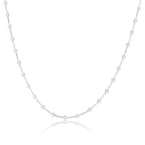 Authentische Naturstein Ball Perlen Ketten Halskette Metjakt 925 Sterling Silber Handgefertigt Hergestellt in Italien (Längen 40,42,45CM) (Labradorit, Rose...