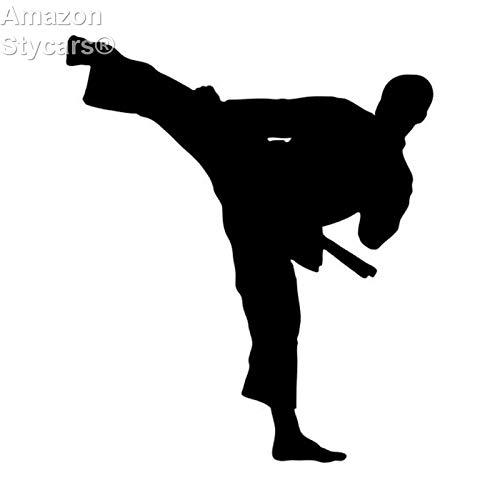 rs, 10.6 * 12.2Cm Taekwondo Karate Handsome Boy Car Stickers Reflective Vinyl Car Decorative Accessories Black ()