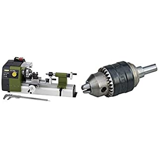 PROXXON Feindrehmaschine FD 150/E, präzise Drehbank mit 2-stufigem Riemenantrieb, Geschwindigkeitsregelung, Spindeldrehzahlen bis 5.000/min, Art.-Nr. 24150 + Proxxon Röhm-Zahnkranzbohrfutter, 0,5 - 6,5 mm f, 24152