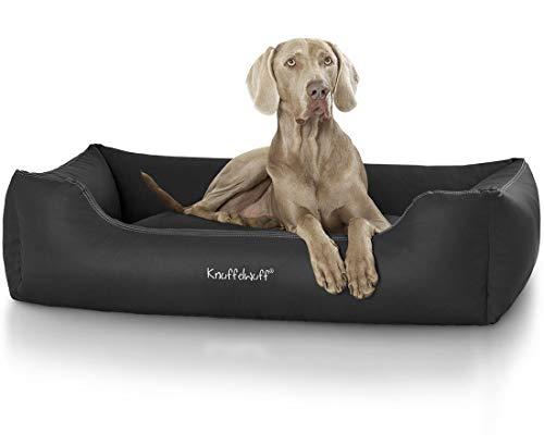 Knuffelwuff Hundebett Sidney Kunstleder Hundekorb Hundesofa Hundekissen Hundekörbchen waschbar XL 105 x 75cm Schwarz