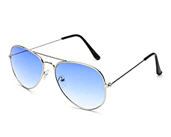 Gansta UV Protected Silver Blue Aviator Sunglasses for Men Women (Gn-3002-Sil-Blu Blue)