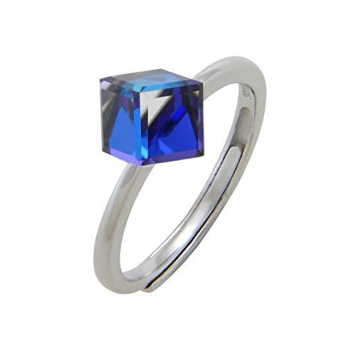 Nature Rebel Damen Ring Zirkonia Saphir Blau 925 Sterling Silber offen größenverstellbar dehnbar