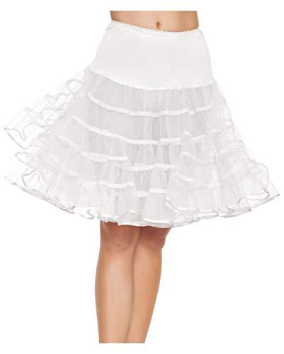 Horror-Shop Knielanger weißer Petticoat von Leg Avenue für Rockabilly Kleider & Fasching