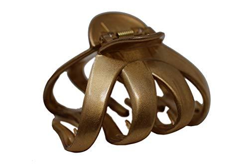 Octopus Kunststoff Haar Klaue Clip Schmetterling Stier Hund Design, großer Griff für dickes Haar (Gold)