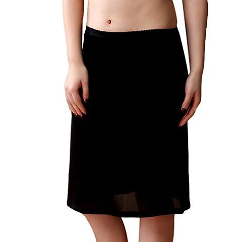 Baymate Femme Mince Jupe Tricotage Dentelle Slip Avec Taille élastiquée Stretch Fit Jupon Noir L
