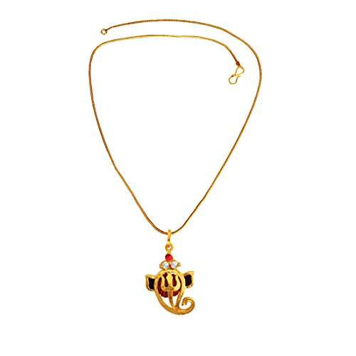 Menjewell Rudraksha Jewellery Collection Gold:Brown Rudraksha Studded Lord Vakratunda Ganesha Pendant With Chain  available at amazon for Rs.183