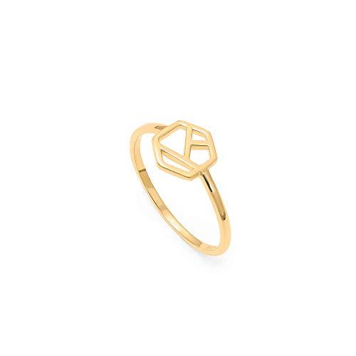 prettique Ring aus 925 Sterlingsilber/Vergoldet (18 Karat) in geometrischem Design