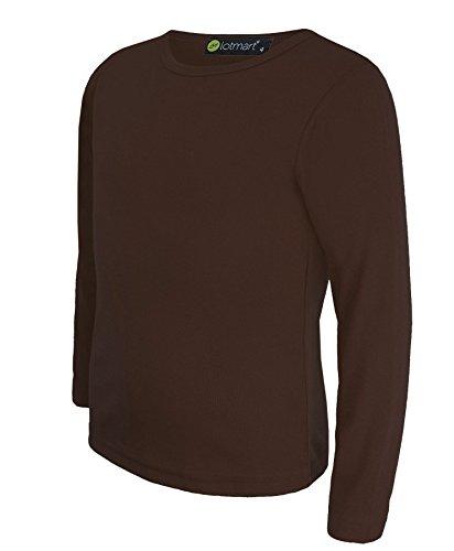 lotmart Kinder Mädchen Jungen Uni Basic Top Lange Ärmel T-Shirt Tops Crew Uniform Tee und gratis Geschenk lotmart Werbe Pen mit jeder Paket,Dunkelbraun - 9-10 Years
