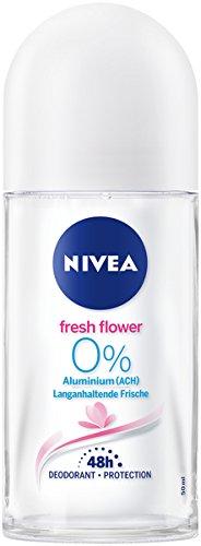 NIVEA Fresh Flower Deo Roll On im 6er Pack (6x 50 ml), Deo ohne Aluminium mit frischem Blumenduft, Deodorant mit 48h Schutz pflegt die Haut