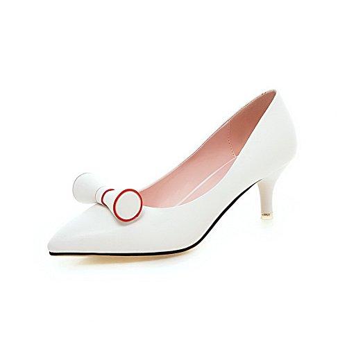 AgooLar Femme Pointu à Talon Correct Matière Souple Couleur Unie Tire Chaussures Légeres Blanc