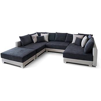 wohnlandschaft couchgarnitur xxl sofa u form schwarz grau ottomane rechts k che. Black Bedroom Furniture Sets. Home Design Ideas