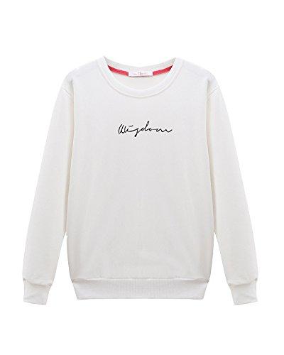 Sweat-Shirts Femme Lettres Imprimé Col Rond De Couverture Sport Blouse À Manches Longues Pull Chemises Blouses Hauts T-Shirts Beige