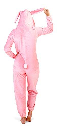Donna Motivo Zebrato Felpato Tutto in uno con cappuccio Pile Tuta Intera Con Pom Pom Bunny