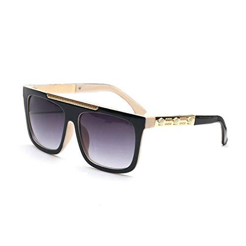 LKVNHP Vintage Übergroße Quadratische Sonnenbrille Männer Frauen Markendesigner Flat Top Sonnenbrille Mann Spiegel Fahren Sonnenbrille Frau Uv400Schwarz Beige