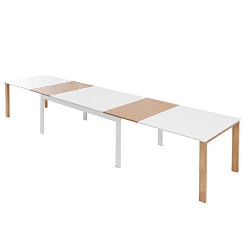 Ausziehbarer XXL Design Esstisch GOLIATH 180-420 cm edelmatt weiß Eiche ausziehbar Massivholz mit Einlegeplatten Tisch
