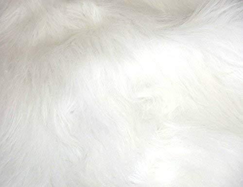 CRS Fur Fabrics Lange Flor Fun Kunstfell Stoff Material-Bright Weiß
