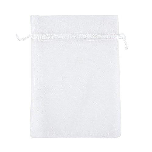 Hochzeit Party Favor Kordelzug Organza Mesh Geschenk Taschen Beutel Wrap für Baby-Dusche 750Gastgeschenken Candy Tasche (15x 20,1cm, 50Stück) weiß