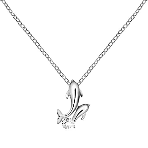 LUFA Cute Dolphin Pendant Necklace Girls Women Party Club Crystal Pendant