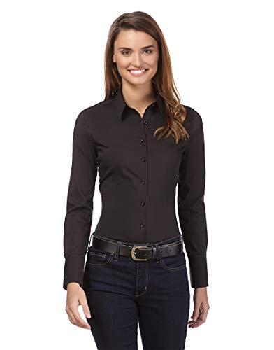 Vincenzo Boretti Damen Bluse besonders tailliert mit Stretch Langarm Hemdbluse elegant festlich Kent-Kragen auch für Business und unter Pullover schwarz 40