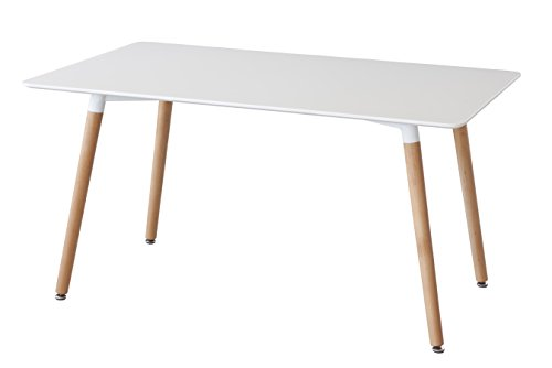 Mesa de comedor TOWER con tapa lacada blanca y patas de madera. (140x90)