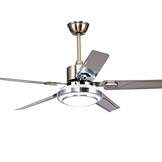 5 Blades Ceiling Fans with Lights Remote Control Stainless Steel Reversible LED Silent Energy Saving Fan Ceiling Chandelier Lighting (42 inch)