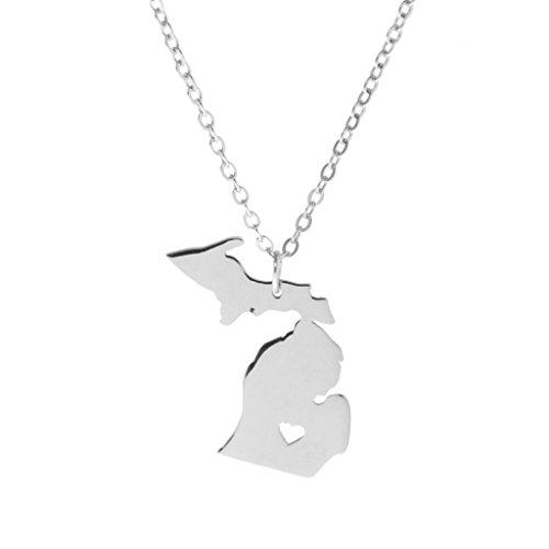MagiDeal Karte Halskette Choker Michigan State Charme Poliert Anhänger Mit Herz Halsband Weiß (Karten Von Michigan)