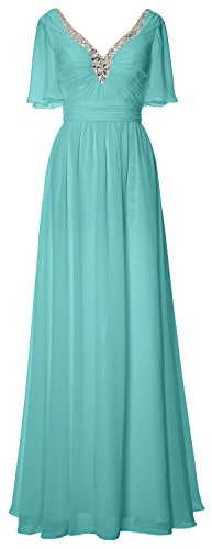 MACloth - Robe - Trapèze - Manches Courtes - Femme Turquoise
